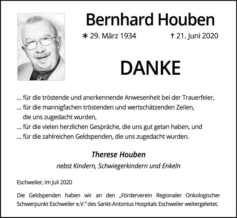 Traueranzeige für Bernhard Houben vom 02.08.2020 aus Zeitung am Sonntag
