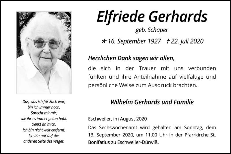 Traueranzeige für Elfriede Gerhards vom 30.08.2020 aus Zeitung am Sonntag