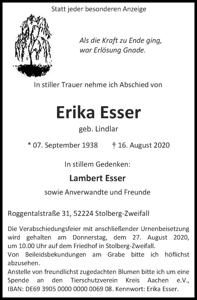 Traueranzeige für Erika Esser vom 23.08.2020 aus Zeitung am Sonntag