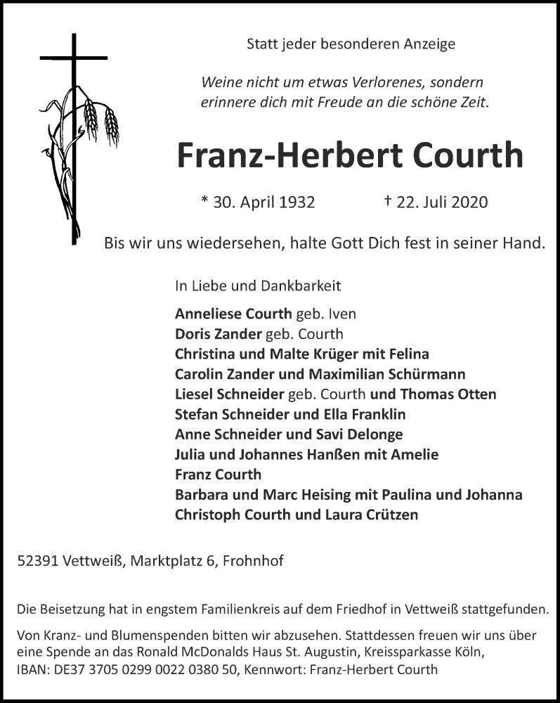 Traueranzeige für Franz-Herbert Courth vom 02.08.2020 aus Zeitung am Sonntag