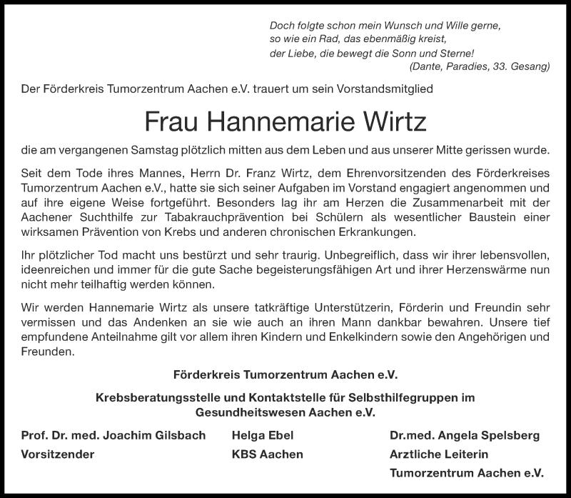 Traueranzeige für Hannemarie Wirtz vom 29.08.2020 aus Aachener Zeitung / Aachener Nachrichten