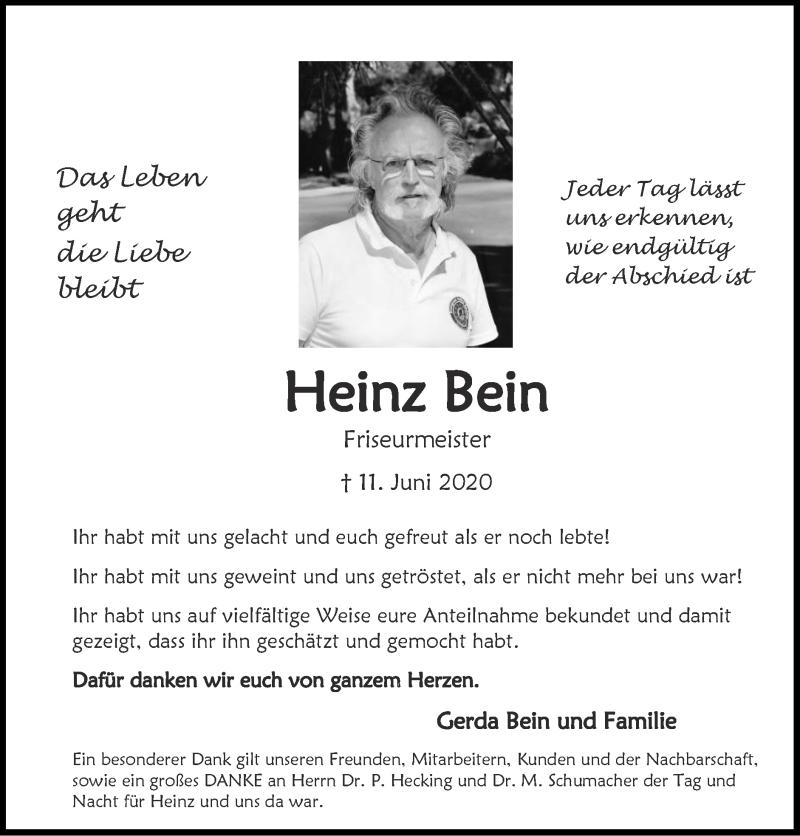 Traueranzeige für Heinz Bein vom 02.08.2020 aus Zeitung am Sonntag