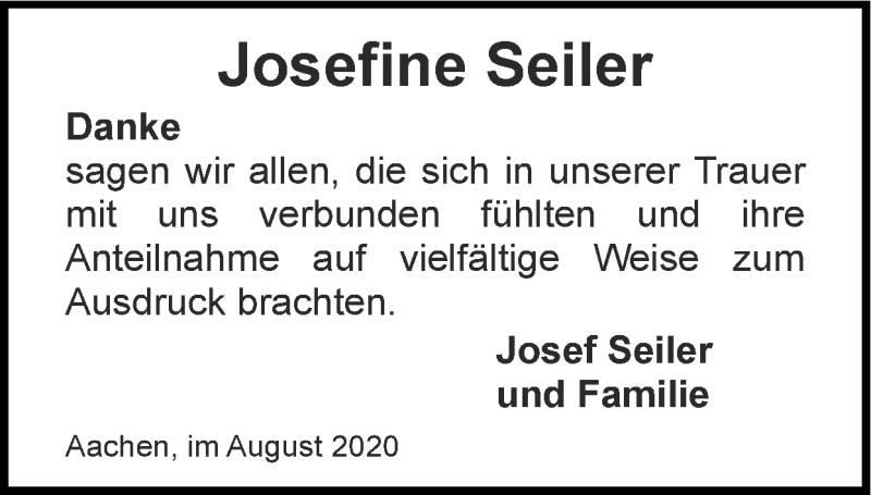 Traueranzeige für Josefine Seiler vom 16.08.2020 aus Zeitung am Sonntag