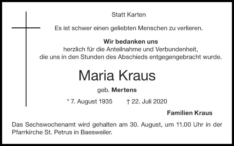 Traueranzeige für Maria Kraus vom 23.08.2020 aus Zeitung am Sonntag