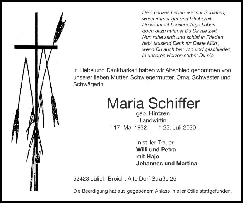 Traueranzeige für Maria Schiffer vom 02.08.2020 aus Zeitung am Sonntag