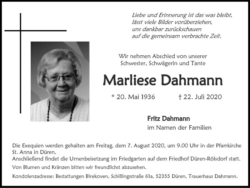 Traueranzeige für Marliese Dahmann vom 02.08.2020 aus Zeitung am Sonntag