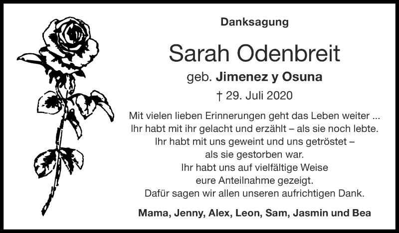 Traueranzeige für Sarah Odenbreit vom 16.08.2020 aus Zeitung am Sonntag