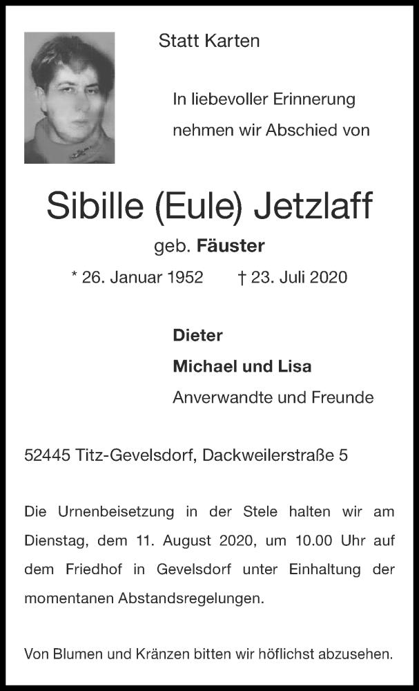 Traueranzeige für Sibille Jetzlaff vom 02.08.2020 aus Zeitung am Sonntag
