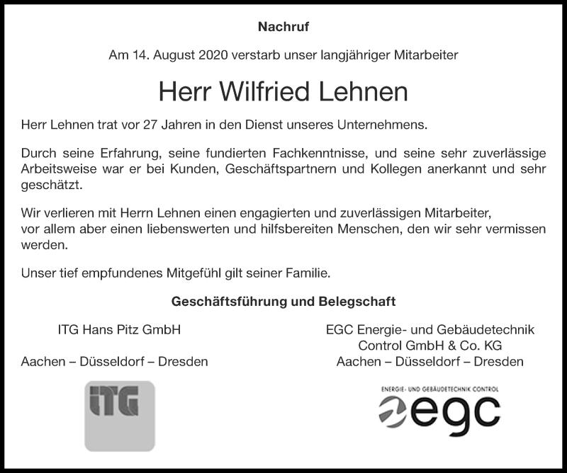 Traueranzeige für Wilfried Lehnen vom 29.08.2020 aus Aachener Zeitung / Aachener Nachrichten