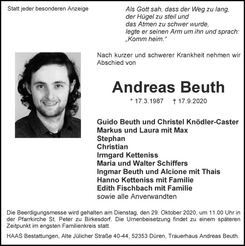 Traueranzeige für Andreas Beuth vom 27.09.2020 aus Zeitung am Sonntag