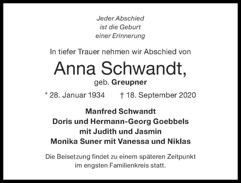 Traueranzeige für Anna Schwandt vom 27.09.2020 aus Zeitung am Sonntag