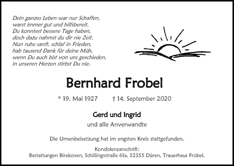 Traueranzeige für Bernhard Frobel vom 27.09.2020 aus Zeitung am Sonntag