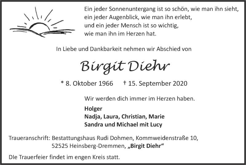 Traueranzeige für Birgit Diehr vom 27.09.2020 aus Zeitung am Sonntag