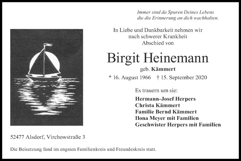 Traueranzeige für Birgit Heinemann vom 20.09.2020 aus Zeitung am Sonntag