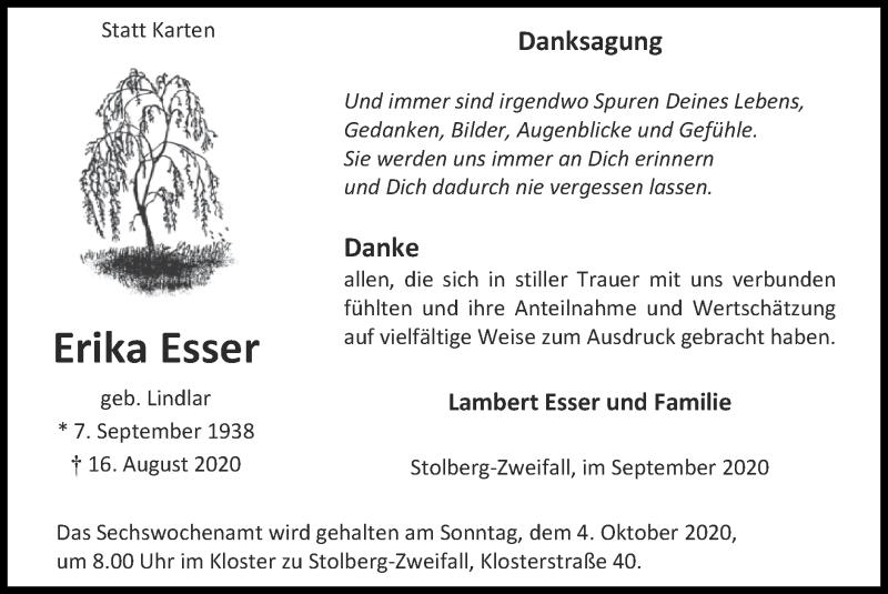 Traueranzeige für Erika Esser vom 27.09.2020 aus Zeitung am Sonntag