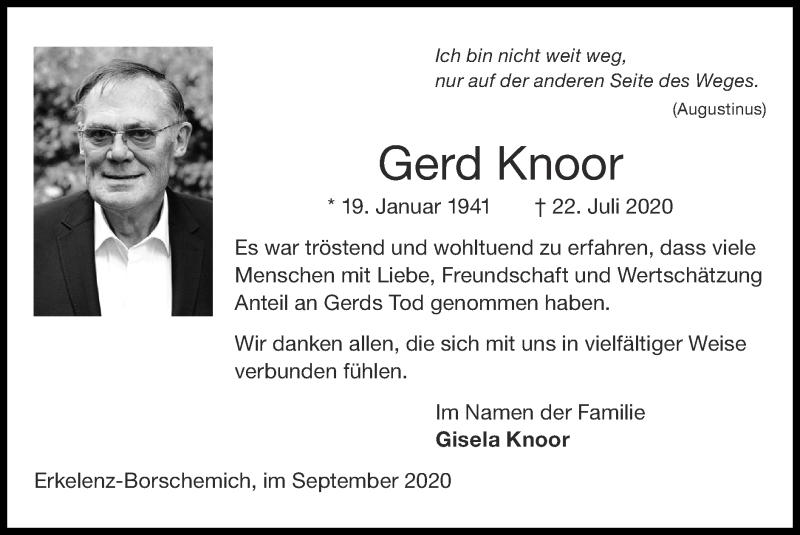 Traueranzeige für Gerd Knoor vom 13.09.2020 aus Zeitung am Sonntag
