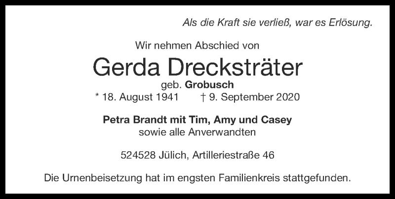 Traueranzeige für Gerda Drecksträter vom 27.09.2020 aus Zeitung am Sonntag