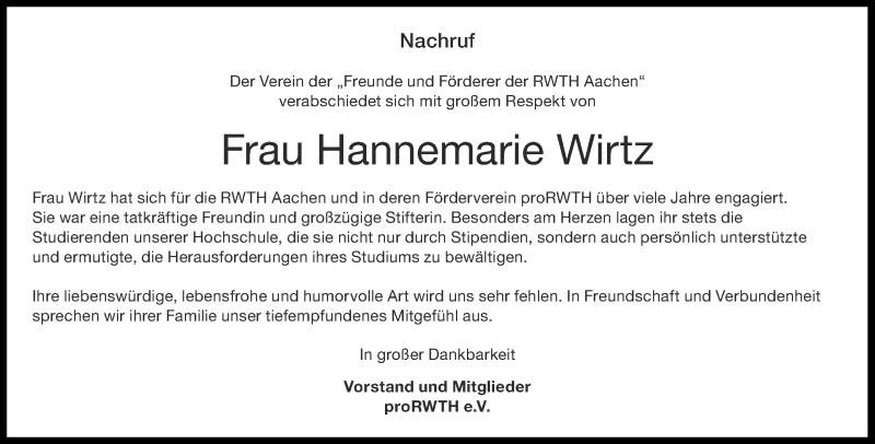 Traueranzeige für Hannemarie Wirtz vom 05.09.2020 aus Aachener Zeitung / Aachener Nachrichten