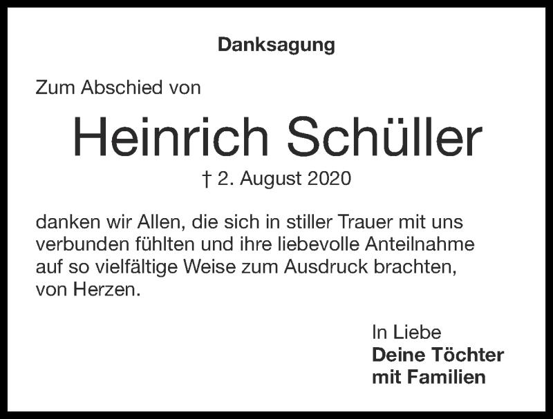 Traueranzeige für Heinrich Schüller vom 27.09.2020 aus Zeitung am Sonntag