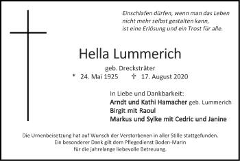 Traueranzeige von Hella Lummerich von Zeitung am Sonntag