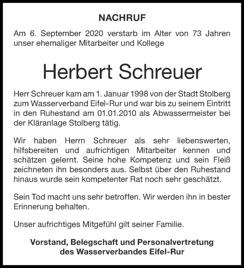 Traueranzeige für Herbert Schreuer vom 01.10.2020 aus Aachener Zeitung / Aachener Nachrichten