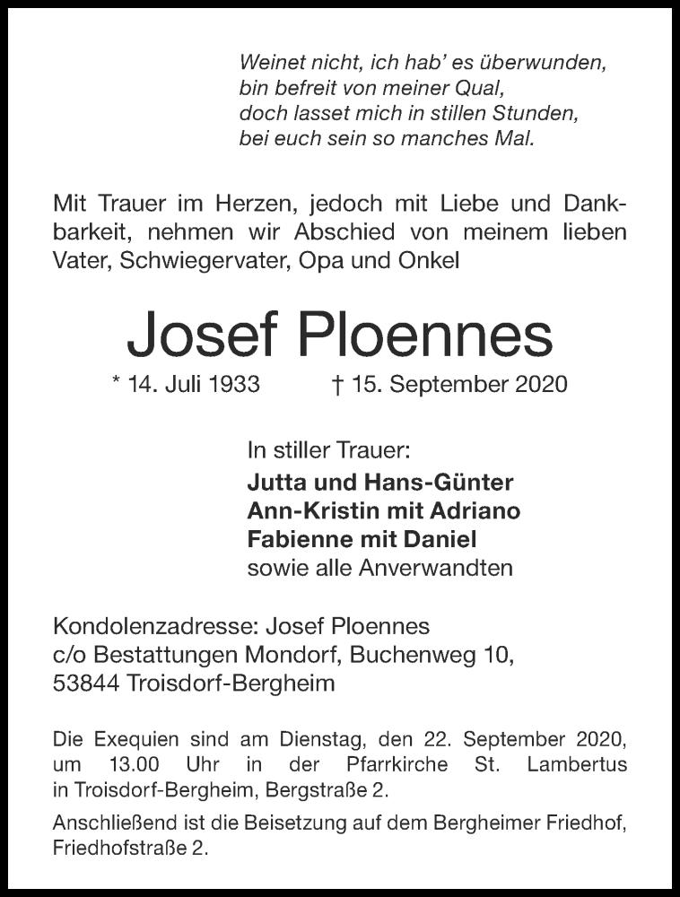 Traueranzeige für Josef Ploennes vom 19.09.2020 aus Aachener Zeitung / Aachener Nachrichten