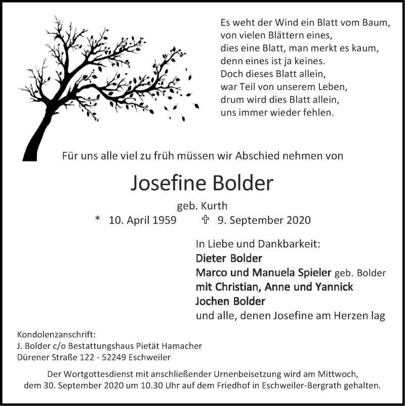 Traueranzeige für Josefine Bolder vom 27.09.2020 aus Zeitung am Sonntag