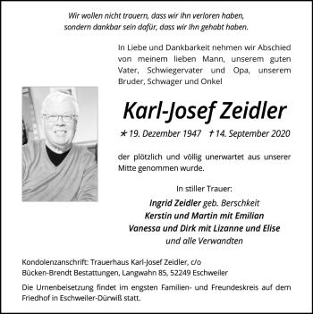 Traueranzeige von Karl-Josef Zeidler von Zeitung am Sonntag
