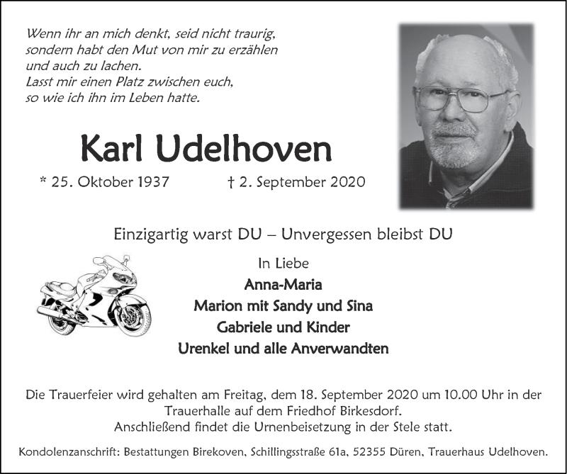 Traueranzeige für Karl Udelhoven vom 13.09.2020 aus Zeitung am Sonntag
