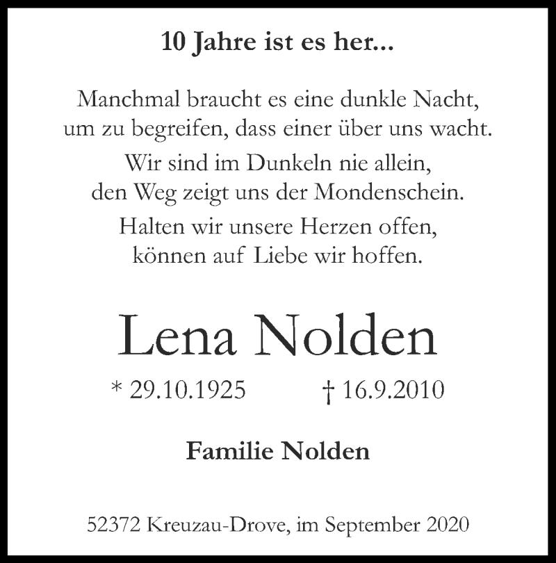 Traueranzeige für Lena Nolden vom 13.09.2020 aus Zeitung am Sonntag
