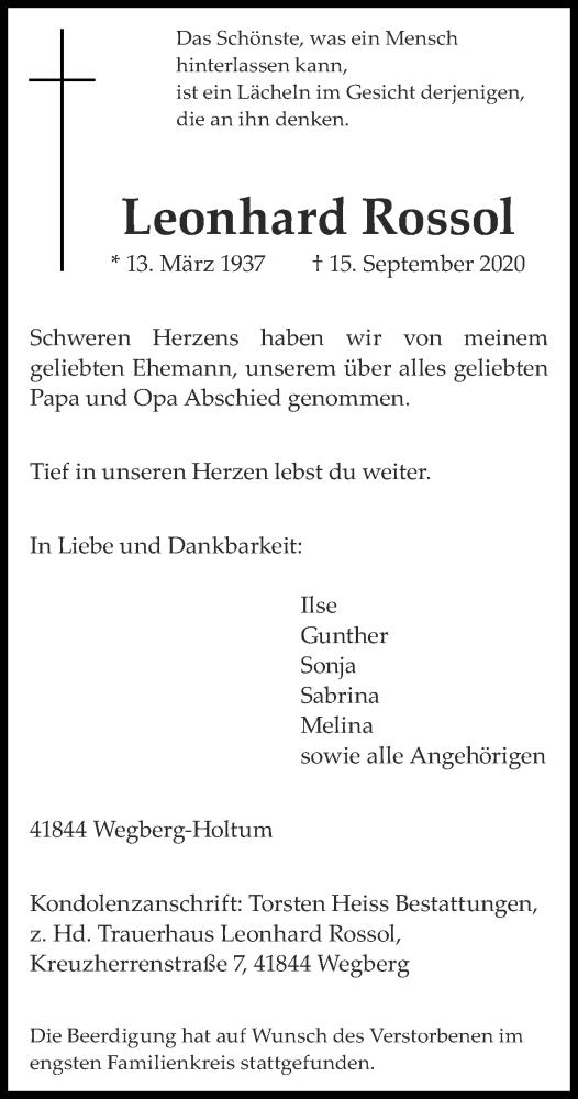 Traueranzeige für Leonhard Rossol vom 27.09.2020 aus Zeitung am Sonntag