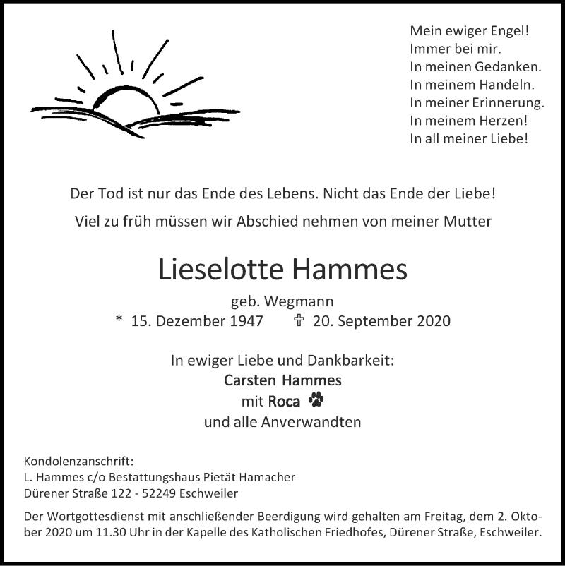 Traueranzeige für Lieselotte Hammes vom 27.09.2020 aus Zeitung am Sonntag