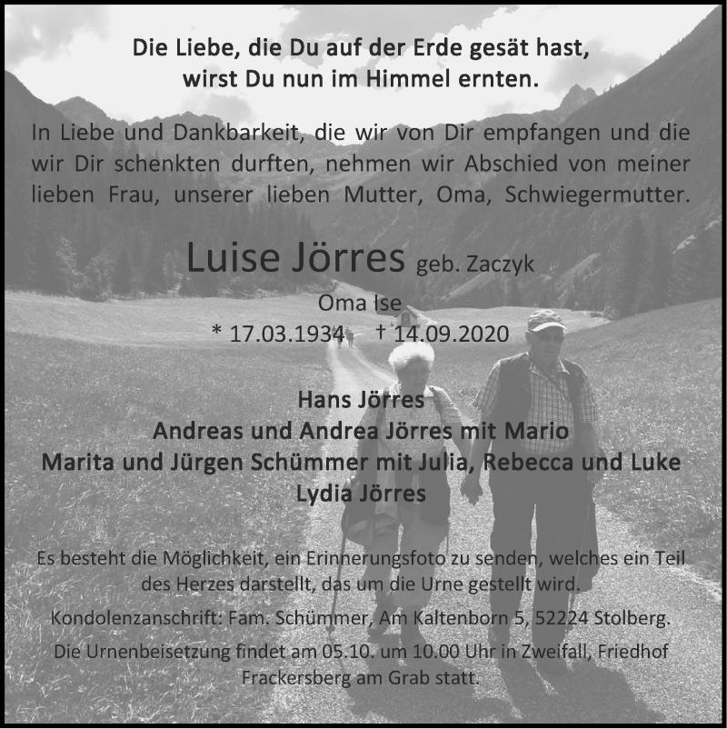 Traueranzeige für Luise Jörres vom 27.09.2020 aus Zeitung am Sonntag