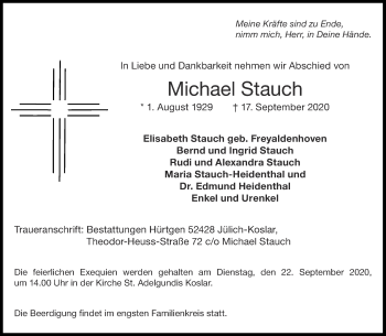 Traueranzeige von Michael Stauch von Aachener Zeitung / Aachener Nachrichten