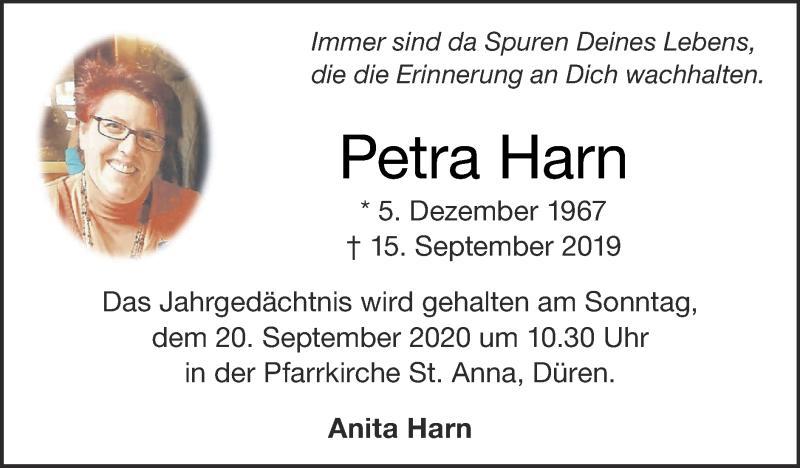 Traueranzeige für Petra Harn vom 13.09.2020 aus Zeitung am Sonntag