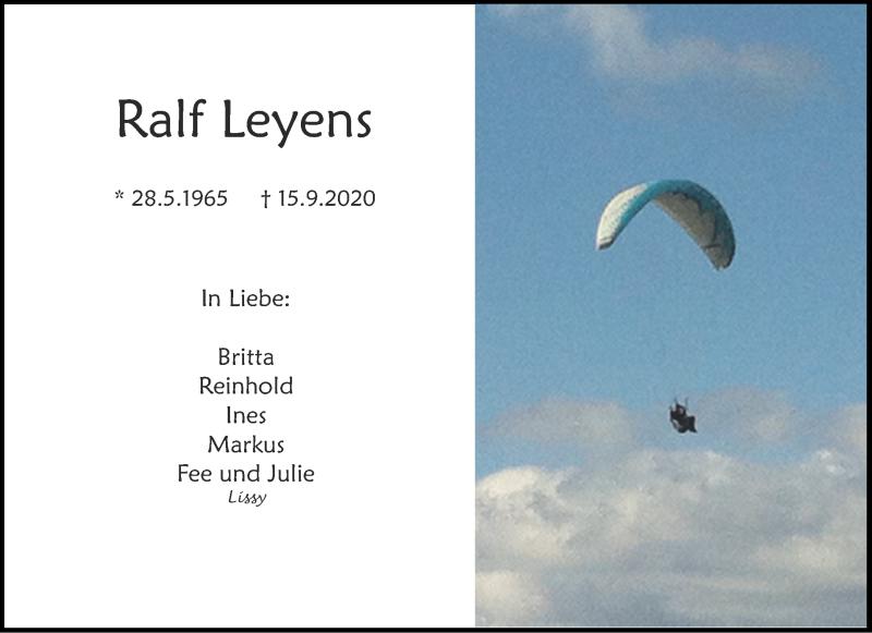 Traueranzeige für Ralf Leyens vom 19.09.2020 aus Aachener Zeitung / Aachener Nachrichten