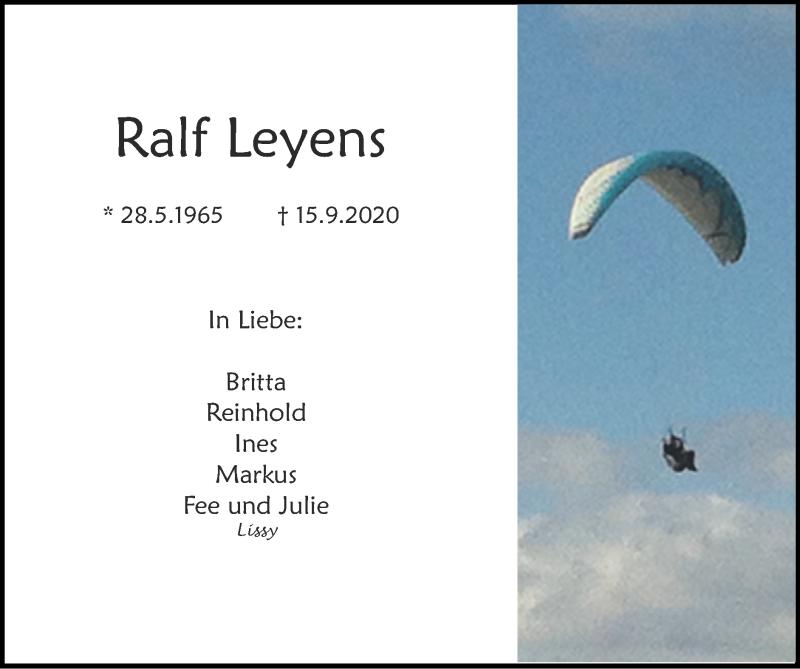 Traueranzeige für Ralf Leyens vom 20.09.2020 aus Zeitung am Sonntag