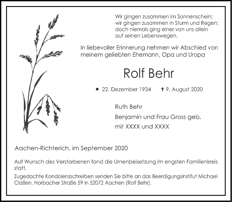 Traueranzeige für Rolf Behr vom 19.09.2020 aus Aachener Zeitung / Aachener Nachrichten