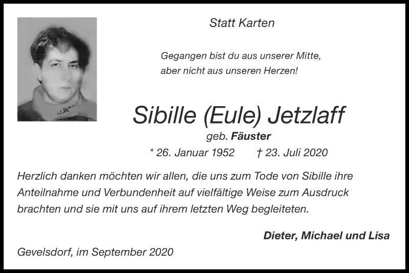 Traueranzeige für Sibille Jetzlaff vom 20.09.2020 aus Zeitung am Sonntag