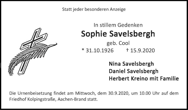 Traueranzeige für Sophie Savelsbergh vom 27.09.2020 aus Zeitung am Sonntag