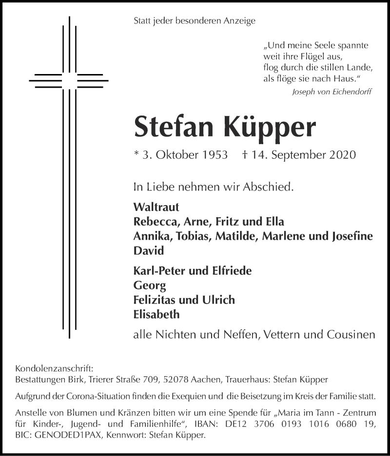 Traueranzeige für Stefan Küpper vom 20.09.2020 aus Zeitung am Sonntag