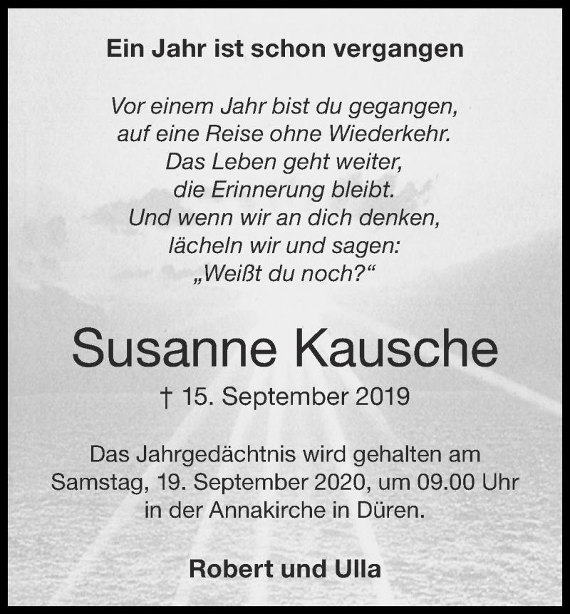 Traueranzeige für Susanne Kausche vom 13.09.2020 aus Zeitung am Sonntag