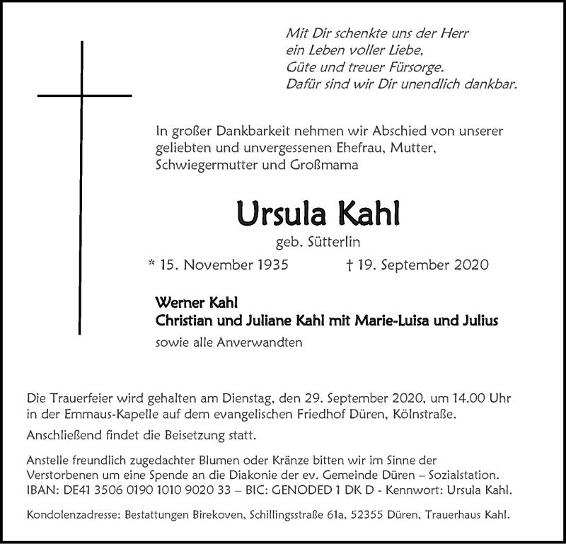 Traueranzeige für Ursula Kahl vom 27.09.2020 aus Zeitung am Sonntag