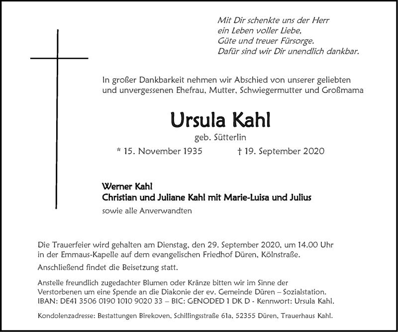 Traueranzeige für Ursula Kahl vom 26.09.2020 aus Aachener Zeitung / Aachener Nachrichten