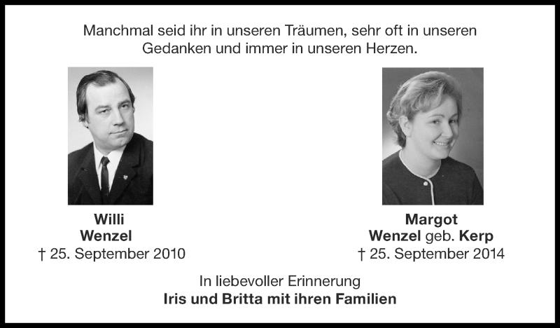Traueranzeige für Willi Wenzel vom 27.09.2020 aus Zeitung am Sonntag