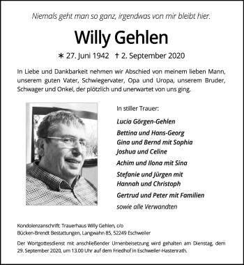 Traueranzeige von Willy Gehlen von Zeitung am Sonntag