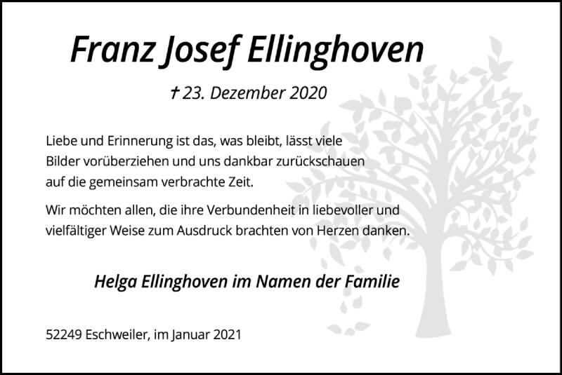 Traueranzeige für Franz Josef Ellinghoven vom 24.01.2021 aus Zeitung am Sonntag