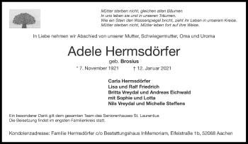 Traueranzeige von Adele Hermsdörfer von Aachener Zeitung / Aachener Nachrichten