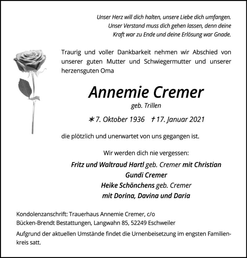 Traueranzeige für Annemie Cremer vom 24.01.2021 aus Zeitung am Sonntag