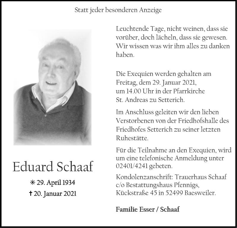 Traueranzeige für Eduard Schaaf vom 24.01.2021 aus Zeitung am Sonntag